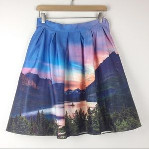 ModCloth Hey, Soul Vista midi skirt mountain print